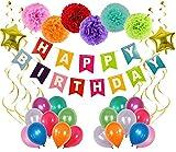 Ohigh Happy Birthday Deko set Bunt Girlande Banner 6 Pompoms 18 Luftballons 6 Spiralen Hängedekoration Kinder Geburtstag Partyset