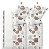 CelinaTex Touchme CurlyBiber Bettwäsche 135 x 200 cm 4-teilig weiß beige grau braun Flauschiger Bettbezug Kreise 6000271