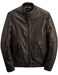 Y-BOA Blouson Veste Biker Jacket Bomber Manche Longue Cuir Pu Manteau Rétro Homme