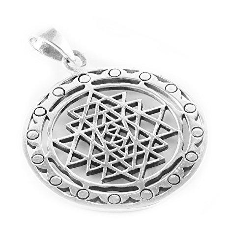 ANHÄNGER / Amulett SRI YANTRA Heilige Geometrie 925 Sterling Silber - Meditation Yoga Spiritualität Esoterik Astrologie Sternzeichen Indien Chakra...