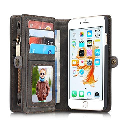 Case und Geldbörse für Apple iPhone 6/6s Plus 5.5 Zoll - 2in1 Geldbeutel Portmonee Schutzhülle Tasche Etui Wallet Hülle Schwarz