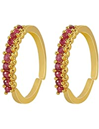 Muchmore Beautiful Gold Plated Ruby Stone Toe Ring For Women