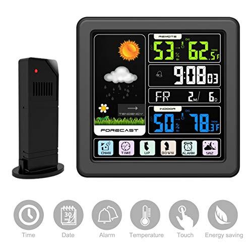 Homealexa Wetterstation Funk mit Außensensor, Innen und Außen Funkwetterstation mit Farbdisplay Touchscreen Digital Thermometer Hygrometer Uhrzeit Anzeige Alarme Funktion USB für Zuhause Büro