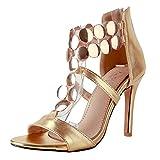 AIYOUMEI Damen T-spangen Stiletto High Heel Hochzeit Sandalen mit 10cm Absatz und Reißverschluss Elegant Modern Pumps Schuhe