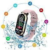 Reloj inteligente, T1 Monitor de ritmo cardíaco impermeable, Monitor de ritmo cardíaco, Reloj Bluetooth, Monitor de actividad Podómetro Calorías Pulsera deportiva Regalo para mujeres Hombres niños