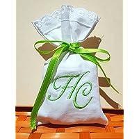 Crociedelizie, Stock 25 sacchetti ricamo iniziali nomi sposi matrimonio bomboniere portaconfetti