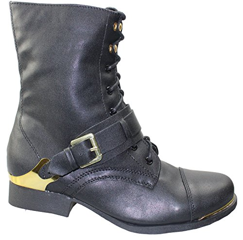 Damen Spitze bis Stiefel Damen Militär Armee Winter Combat Biker Schuhe Schwarz