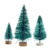 #2: 32 Pcs Miniature Frosted Sisal Christmas Trees Snow Pine Trees Bottle Brush Trees with Wooden Bases