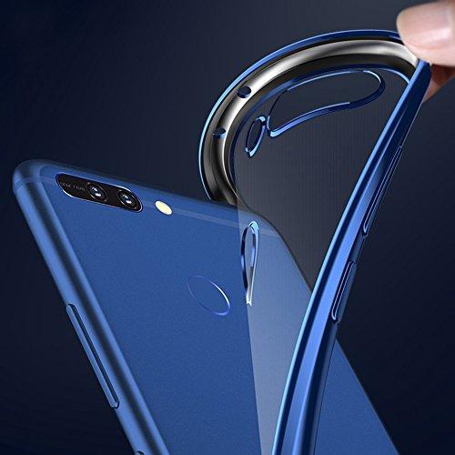 """Huawei Honor 8 Pro (5.7"""") / Honor V9 Hülle, MSVII® Durchsichtig Weich TPU Silikon Bumper Hülle Schutzhülle Case Und Displayschutzfolie für Huawei Honor 8 Pro (5.7"""") / Honor V9 - Rot / RED JY60044 Blau"""
