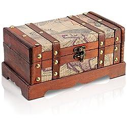 Brynnberg - Caja de Madera Cofre del Tesoro Pirata de Estilo Vintage, Hecha a Mano, Diseño Retro 23x13x12cm