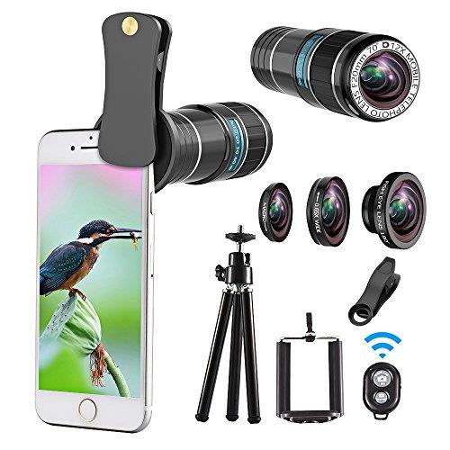 Teleobjektiv-Kit, 4 in 1 Handy Kameraobjektiv, 12x Teleobjektiv + 180 ° Fisheye-Objektiv + 0,65x Weitwinkelobjektiv + Makroobjektiv, Clip-On-Objektive für iPhone X 8 7 6 plus, Samsung Smartphone + Fernauslöser (8 Beutel-kit)