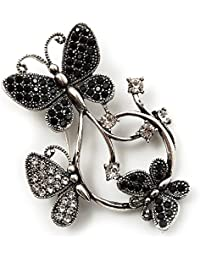 Diamante Mariposa Corona broche (Burn), color plateado