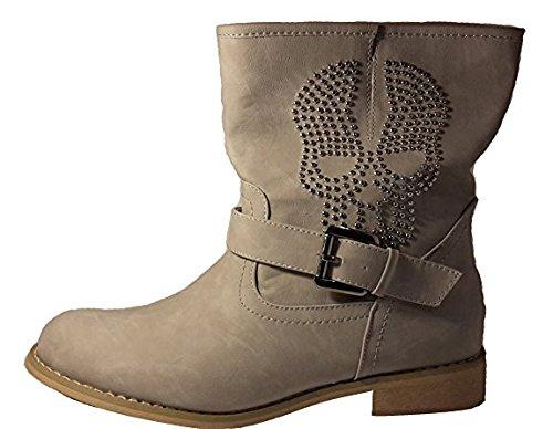 ravagante Hardcore Piraten Stiefel mit Totenkopf, Größe 41; Damenschuhe, STI005, Schuh für Damen, ein Ganz Besonderer Piraten Stiefel, Hier: Grau. (Stiefel Mit Totenköpfen)