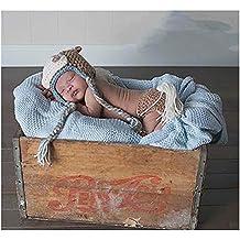Bebé recién nacido fotografía apoyos niño Niña Crochet disfraz trajes  caballo sombrero pantalones 243bff5483e