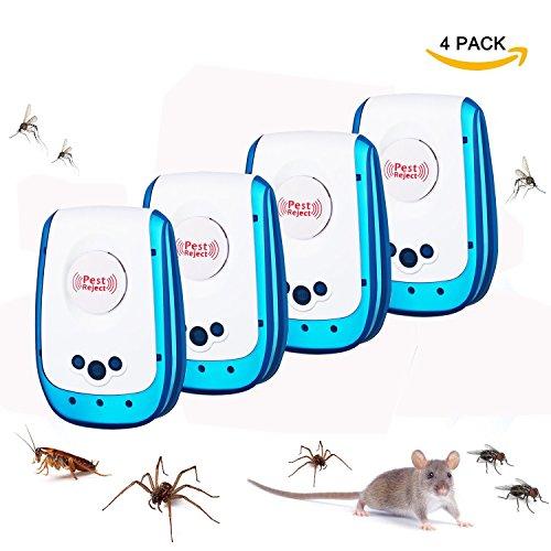 LOVNE Ultraschall Schädlingsbekämpfung Insect Repeller mit Stecker Haus Schädlingsabwehrmittel Eidechse Abwehrmittel für Mäuse, Ameisen, Kakerlaken, Nagetiere, Ratten, Käfer, Spinne, Fliegen, Ungiftig und Umweltfreundlich für drinnen im Freien (4 PACK)