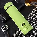 Feocirrs Thermos Tea Vacuum Flask with Filter Acciaio Inossidabile 304 Tazza Termica Tazza di caffè Bottiglia d'Acqua Ufficio Business Home Thermo Green 500ML