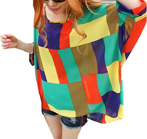 ADS Plus Größe Damen Bohemian Style Beach mit Fledermausärmeln Loose Chiffon Bluse Shirt (Tops Aeropostale Fashion)