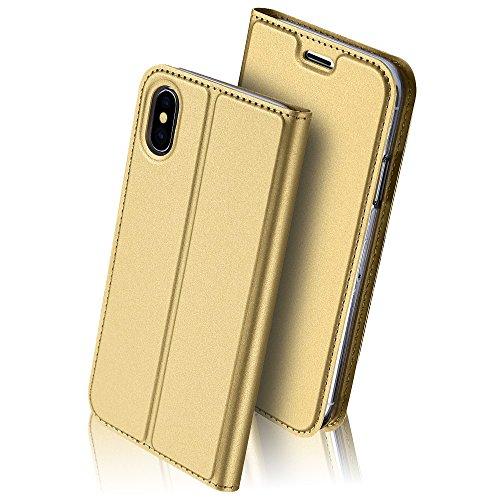 Buch Schutz Hülle Wallet Case für iPhone X 10 Etui | LUXUS | Kunstleder Flip Cover mit Kartenfach Schutzhülle Handytasche Schale Hart PU Leder Handyhülle Tasche Noble Gold