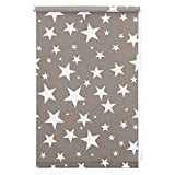 Lichtblick KRT.060.180.101 Rollo Klemmfix, ohne Bohren, blickdicht, Sterne - Grau-Weiß - 60 cm x 180 cm (B x L)