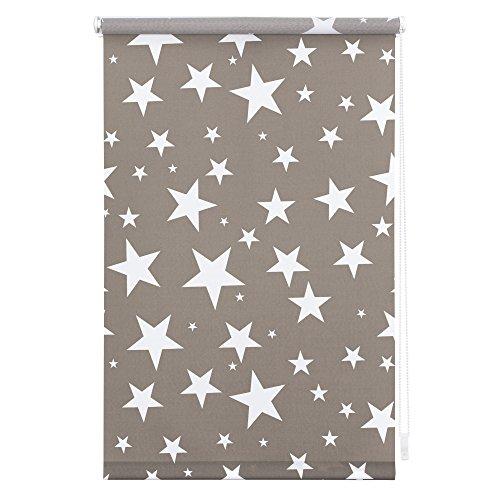 Lichtblick KRT-045-180-101 Rollo Klemmfix ohne Bohren blickdicht Sterne Grau-Weiß