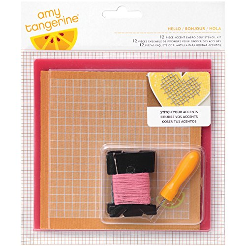 American Crafts Amy Tan genäht 12 Stickerei Schablone Kit Hallo
