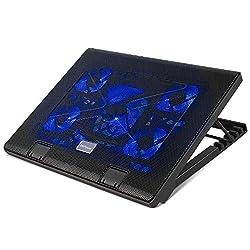 MVPower Notebook Kühler Laptop Cooler Kühlpad Laptop Unterlage mit 5 Lüfter, 2 USB-Anschlüssen, Blaue LEDs, verstellbare Ventilator (12-17 Zoll)