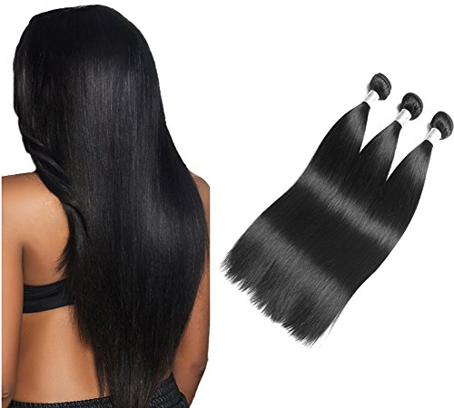 Moresoo 3pcs extension matassa capelli veri brasiliano virgin colore #1b nero naturale 100% umano hair mosse 10