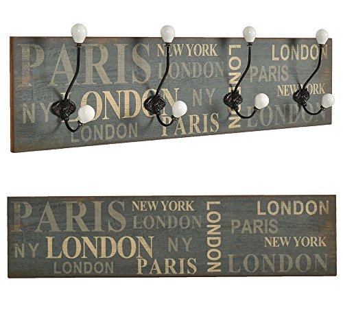"ts-ideen Perchero de pared o de pasillo ""London"" madera franja de ganchos 20 x 80 cm Shabby"