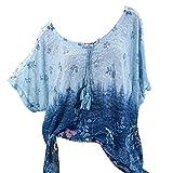 VJGOAL Damen T-Shirt, Damen Mode Kurzarm V-Ausschnitt Spitze Gedruckte Spitze Tops Sommer Lose T-Shirt Bluse (2XL/50, X-Blumen-Himmelblau)