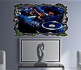 3D Wandtattoo Musik DJ Disco Mischpult House Bild selbstklebend Wandbild Wandsticker Wandmotiv Wand Aufkleber 11F1067, Wandbild Größe F:ca. 97cmx57cm
