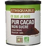 Ethiquable Pur Cacao Non Sucré Equateur/Haïti Bio et Équitable 200 g Producteurs Paysans - Lot de 3