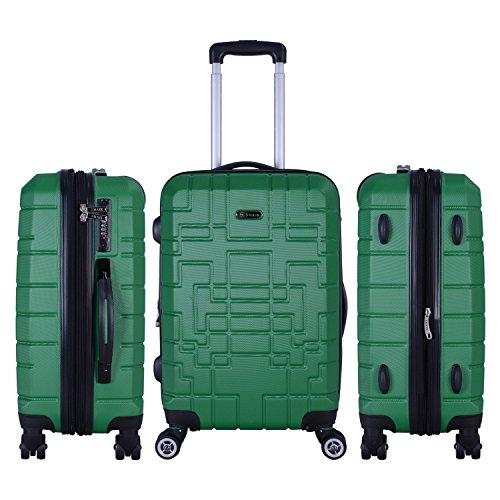 Shaik Serie XANO HKG Design Hartschalen Trolley, Koffer, Reisekoffer, in 3 Größen M/L / XL/Set 50/80/120 Liter, 4 Doppelrollen, TSA Schloss (Handgepäck M, Grün) - 6