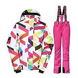 Wonny Brandneu 2 Teilig Skianzug Wasserdicht Schneeanzug Jacke und Hosen Unisex Skiset Rosa XS