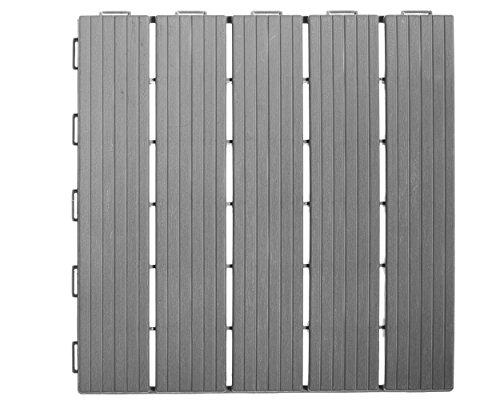 Gartenfreude Kunststoff Bodenfliesen 9er-Set, grau, 30 x 30 cm, 4850-1000-001