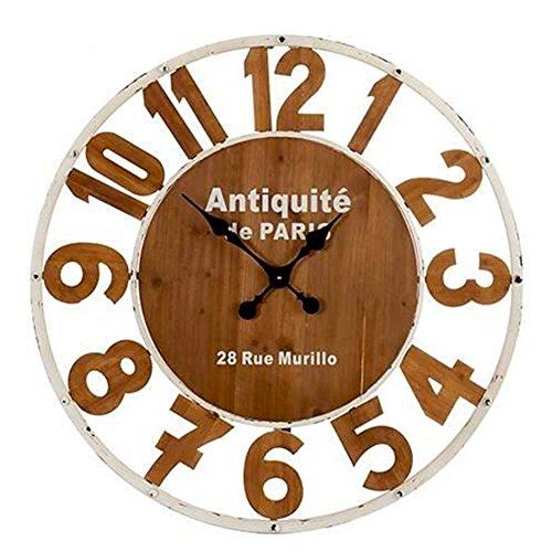 Horloge murale mur en bois et métal design vintage retro 'avec chiffres gravés diamètre 80 cm blanc et naturel