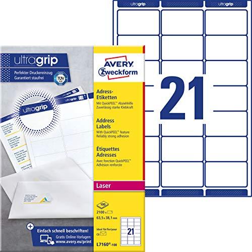 Avery Zweckform L7160-100 Adressetiketten/Adressaufkleber (A4 mit ultragrip 63,5 x 38,1 mm, 100 Blatt, bedruckbar, selbstklebend, ideal für DIN B6/C6 Briefkuverts, 2,100 Etiketten) weiß