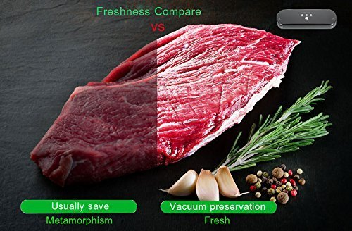 Vakuumierer, KitchenBoss Vakuumiergerät Lebensmittelverpackungsmaschine für Lebensmittel, Fleisch,Früchte, natürliche Aufbewahrung ohne Konservierungsstoffe,Vakuumregulierung,inkl. 5 gratis Profi-Folienbeutel (rote) - 8