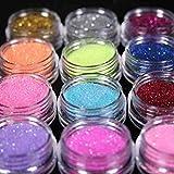 Asien 12 Farben Nail Art Staub Glitzer Puder DIY Dekoration Uv Acryl Gel Tipps