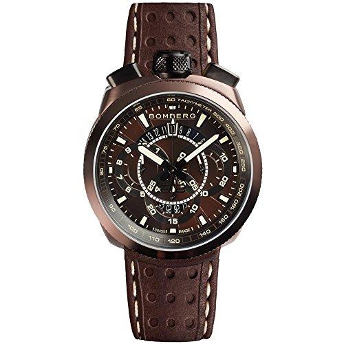 Bomberg Men's Bolt 68 45mm Leather Band Steel Case Quartz Watch...