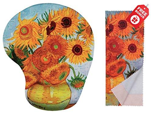 Van Gogh Sunflowers ergonomische Design-Mausunterlage mit Handgelenk-Unterstützung. Gel Handauflage. Passendes Mikrofaser-Reinigungstuch. Mauspad für Laptop, PC und Mac.