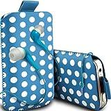 ONX3 Zte open C protettiva in pelle PU slittamento cordoncino Polka Nella cassa del sacchetto del rilascio rapido con 3.5mm MP3 In-Ear Bud Auricolari (Baby Blue)