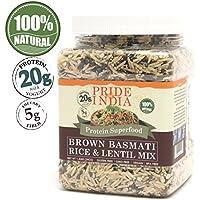 El orgullo de la India - India Marrón arroz Basmati y lentejas Mix - un suplemento proteínico, Jar 1,5 libra