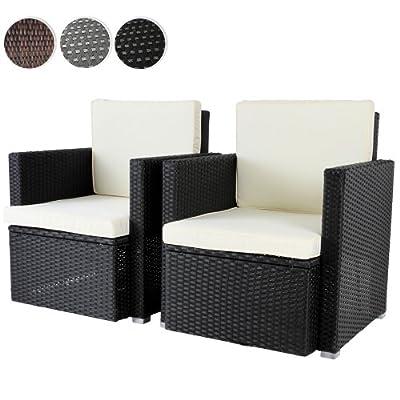 2er Set Loungesessel aus Polyrattan Gartenmöbel inkl. Sitzkissen -Farbwahl- schwarz, grau oder braun