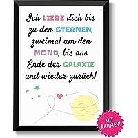 Liebe 2x um den Mond - Geschenkidee Valentinstag Frau Mann - Bild mit Rahmen - Geschenk Geburtstag Jahrestag Hochzeitstag