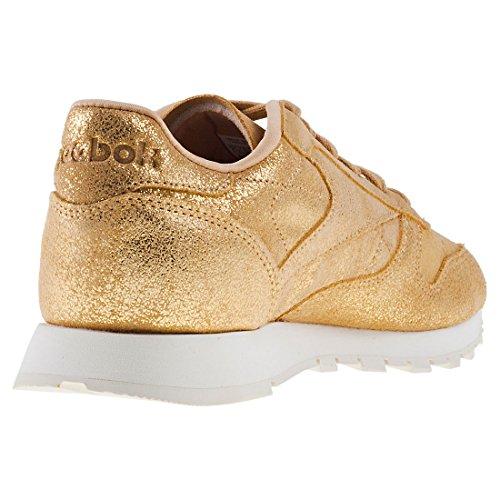 Reebok Classic Leather Shimmer, Low Low Sneakers De Mujer Amarillo (dorado / Tiza Cn0574)