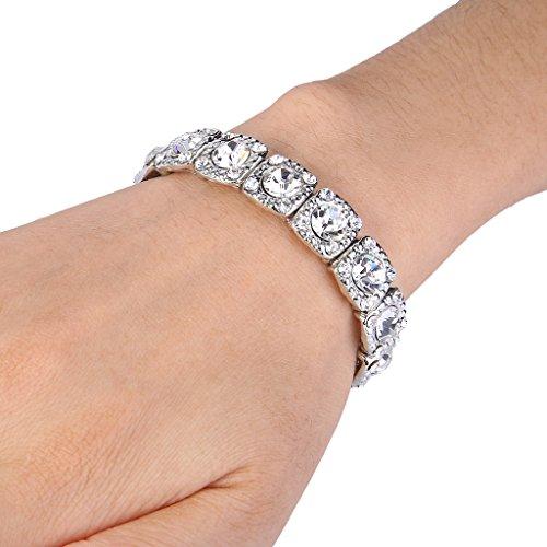 """Ever Faith® cadeaux de Saint Valentin Femme """"cristal rond de mariage élastique Bracelet extensible clair Silver-Tone"""