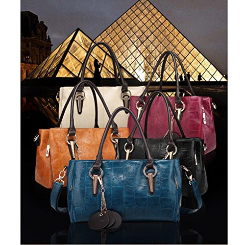 Honeymall-Grand Sac a Main Bandoulière Fourre Tout Épaule PU Cuir Femme Plusieurs options de couleurs Orange