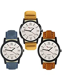 Talgo 2017 New Collection Foxter (combo Of 3) White Round Shapped Dial Leather Strap Fashion Wrist Watch For Boys... - B0763TYK6H