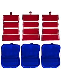 Afrose Combo 3 Pc Red Earring Folder And 3 Pc Blue Ear Ring Box Vanity Case