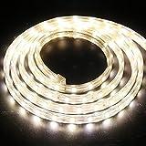 6M Dimmbare LED Streifen Warmweiß,XUNATA 220V-240V 5050 SMD 60leds / m IP67 Wasserdicht,Kein Selbstklebender,Flexibles LED Lichtband für Küche Stairway Home Weihnachten Deko (Warmweiß, 6m)